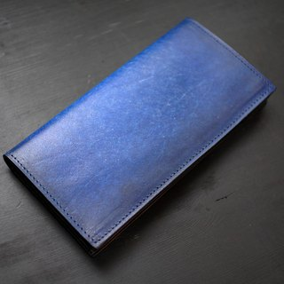 [Father's Day] [smudged series] [planted leather long clip] deep sea blue leather long clip