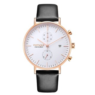 [Vintique] chronograph watch minimalist design sapphire glass rose gold stainless steel case leather strap CH-WR01