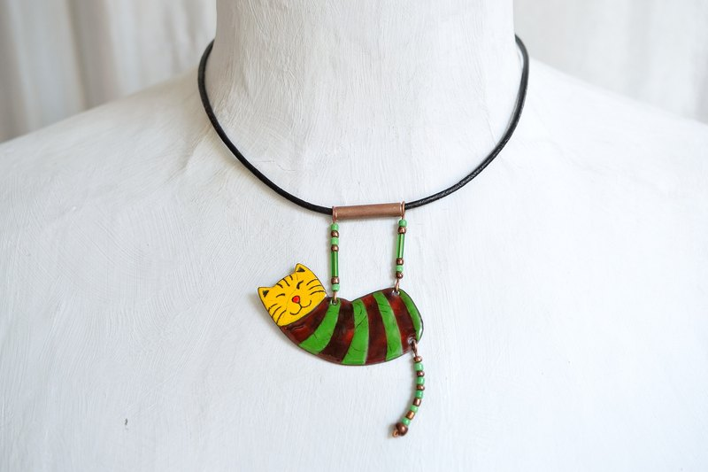 Enamel Necklace, Green Cat, Enamel Pendant, Enamel Jewelry, Cat Necklace, Cat Pendant, Enamel Cat Necklace, Boho Necklace, Striped Necklace, Tabby Cat, Striped Cat, For Cat Fans, Cat Lovers,