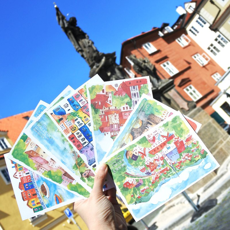 Rami Europe Travel Watercolor Hand Drawn Wind Postcard Set (7 in) - Czech Austria Italy