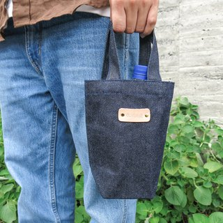 Tannins good bag denim with cowhide leather standard carry bag [change tide change bag]