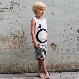 Nordic organic cotton children's vest big circle white