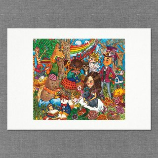 【A4】Hand  draw water colour  printed illustration |  art print | illustration |  wall deco|garden【Tea Party】
