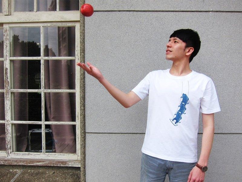 藍染純棉中性Tshirt-鞦韆貓