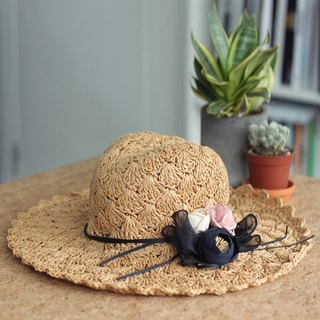 Romantic Straw Wide Brim Hat With Silk Flower