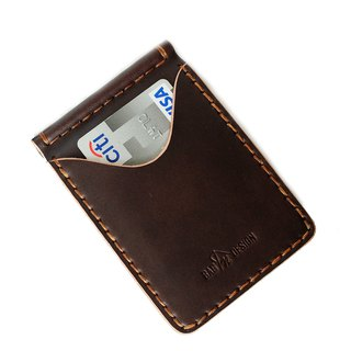 Wallet Money Clip Bi-fold Vegetable Rusty Brown Hand-cut & Hand-sew process.