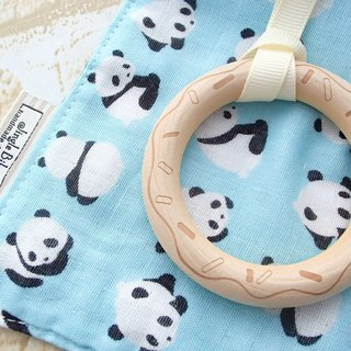 Baby Teething Blanket, Rattle  Wooden Toy, Japanese Cotton, Panda Bear Border