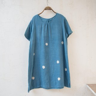 Loose Tunic | Big polka dot | Indigo dyed soft cotton |