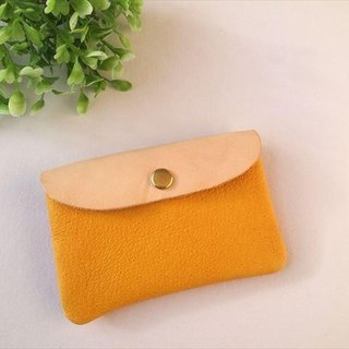 [Yellow × purple] pig leather soft card case [MTO] Leather Pass Case
