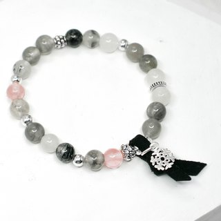 Reminiscence of the snow natural stone silver bracelet │ gray gift birthday accessories gray crystal hair crystal