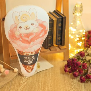 QQ double-sided pillow - cone rabbit - strawberry rose