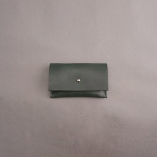 Business card holder leather / dark green vegetable tanned leather / handmade leather goods