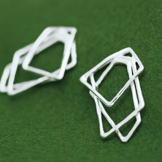 Geometric earrings - clip earrings - Silver earrings - Contemporary earrings