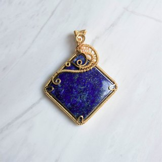 [Blue Wind Blue Moon] Lapis Art Copper Wire Weaving Pendant