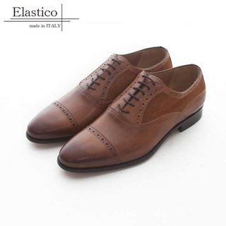 Elastico Italian stitching leather carved Oxford shoes #627驼色-ARGIS Japan handmade