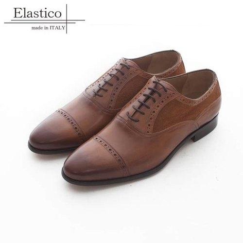 Elastico Italian made stitching leather carved Oxford shoes # 627 Camel -  ARGIS Japanese handmade leather