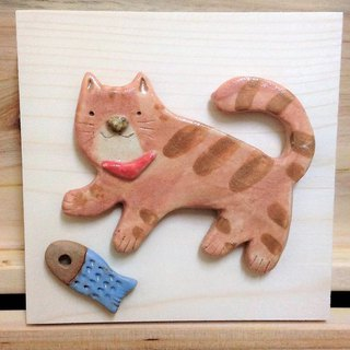 Cat Cat Kick Fish Candy Cat Porcelain Painting