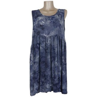 Uneven dyed sleeveless dress <Indigo>