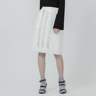 直條墨紋片裙 Denim Wrap Skirt With Stripe Printed