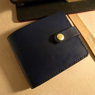Golden Forest handmade leather original leather navy blue short clip cowhide leather wallet short clip gift Pinkoi