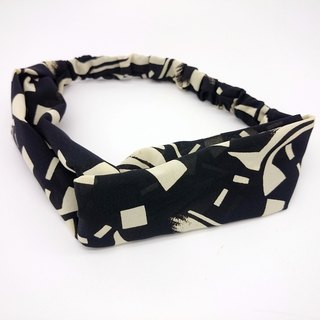 Black and Beige Elastic Band Cross Style Hairband*SK*