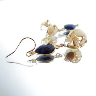 14KGF / SAPPHIRE HOLLOW LAMP EARRINGS