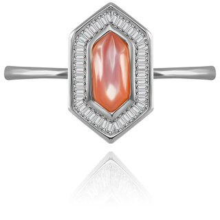 Hexagonal Shape Pink Shell Diamond Ring