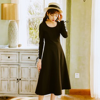 2018 autumn women's new solid color waist knit dress dress