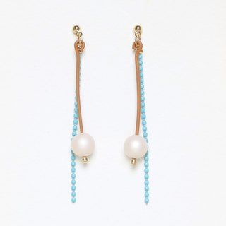 matte drop - beige × skyblue bead earrings · earrings