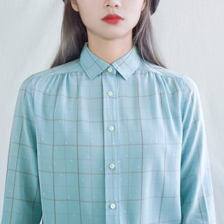 Light blue snow-printed vintage long-sleeved shirt