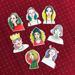 Sticker Red Nose Girls Series 8 Original Designs / Pocket Account / Series Illustrations