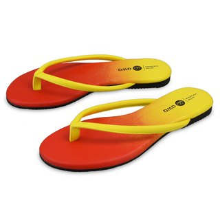 Super soft wear-resistant leather character flip flops Colorful series Orange lining Gravity insole Ultra comfort Rain wear