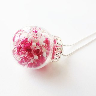 *Rosy Garden* cherry red and white color baby's breath glass ball necklace