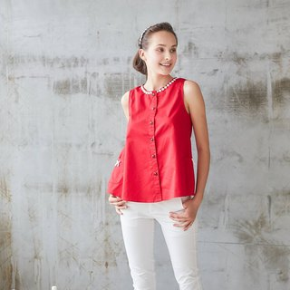 Red Lace-Trim Button-Front Sleeveless Top