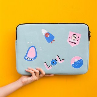 YIZISTORE diving material printing laptop bag 13/15/15 inch thick shockproof liner bag - light blue