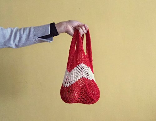 Vest-style flat east bag ~ lunch bag / market shopping bags (watermelon red)