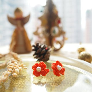 Hand-woven Japanese Orange Lucky Clover flower earrings BE026