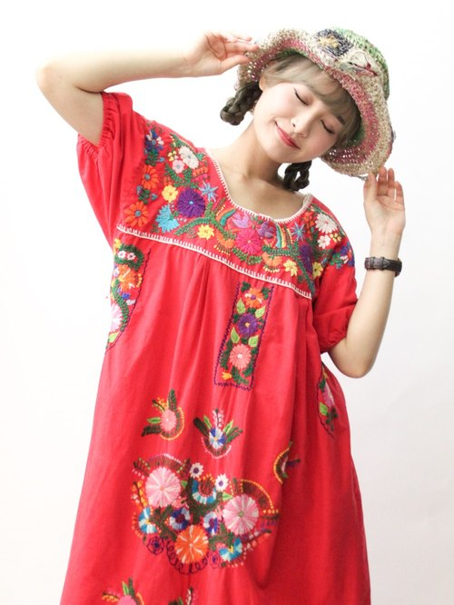 【RE0602MD041】 early summer flowers hand embroidery red American Mexican embroidery ancient dress