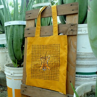 Big tote bag embroidered tiger - yellow mustard