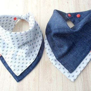 Baby Bib, 口水巾, Reversible Scarf Bib, Handkerchief, Anchor, Japanese Cotton