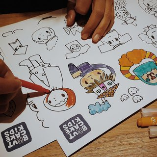 Brut Cake Kids Hand-painted Coloring Sticker Set of 4 _ Each pattern is different when finished coloring can be cut off as a sticker