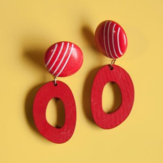 Space Age - Red and White Striped Earrings