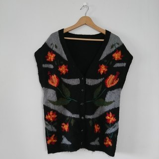 [Night Sakura] vintage - drop-shoulder wool vest