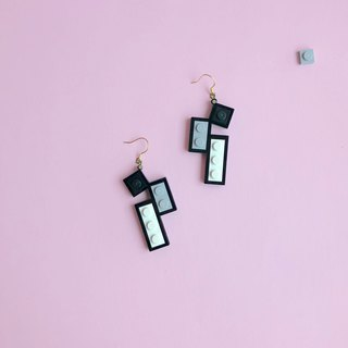 Classic earrings LEGO  Black white gray