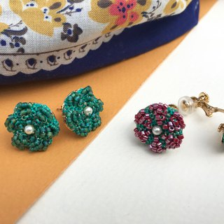Vintage earrings(red-green) / Clip-ons / gift