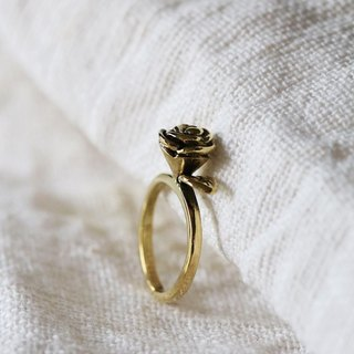Rose Ring / Linen Jewelry / Everday Jewelry / Rose Jewelry / Rose Brass Ring.