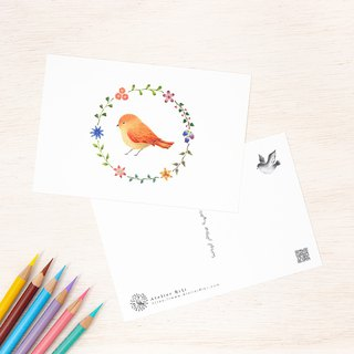 "4 pieces set. Like a picture book. Post card ""Orange bird and flower ring"" PC-52"