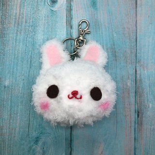 White Rabbit - Fat Doodle Wool Animal Keyring Charm