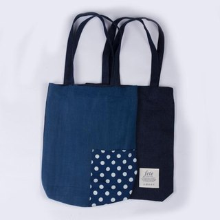 fete store sided Patchwork shoulder bag {paragraph} Polka Dot Polka Dot Blue denim stained cloth new and old