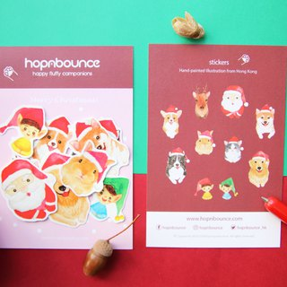 Christmas Animal Postcard and Stickers Set